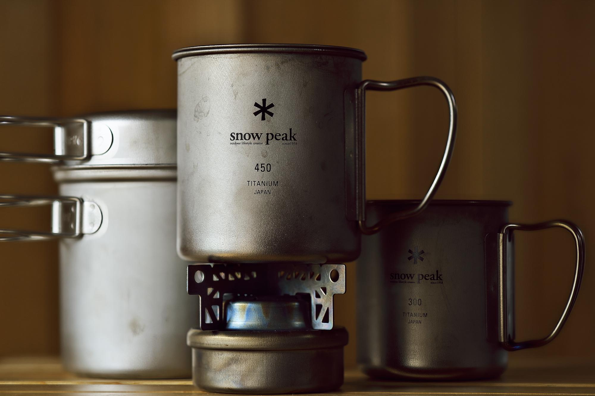 チタン製のカップ・クッカー・アルコールストーブ