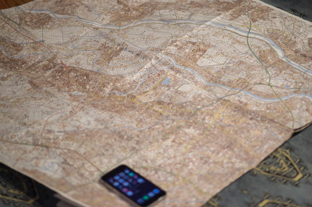 大きな手製の地図